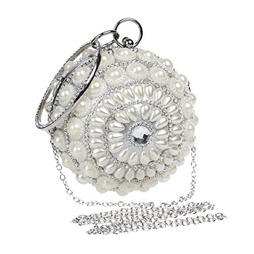 Women Color Handbag Mini Black Cute Evening Clutch KERVINFENDRIYUN Pearl Silver Purse Small Ball pqpdA