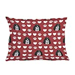 Style In Print Personalized Pillow Case Ariegeois Dog Red Paw Heart Polyester Pillow Cover 20INx28IN Design Only Set of 2 8
