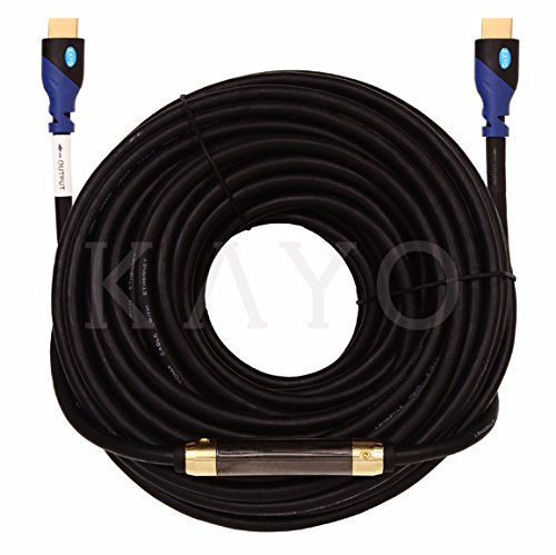 HDMI Cable,KAYO High Speed HDMI Cable (w/Signal Booster) CL3 Rated Cord HDMI2.0b Supports Full 4K@60Hz, UHD, 3D, 2160p, Ethernet, ARC,(Latest Version) HDCP 2.2 Compliant-(100FT + Signal Booster) ()