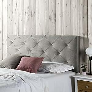 cabecero tapizado milano 140x60 rombos en tela gris 8 cm de grosor - Cabecero Tela