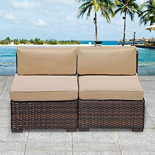Stamo 2 Piece Patio Furniture Sectional Wicker Sofa Chairs, Patio Loveseat Wicker Armless Chairs, All-Weather Brown PE Wicker Sofa Chair, Beige Cushions