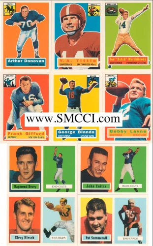 1994 Topps Archives Football 1956 and 1957 Reprint Complete Mint Hand Collated Set. Loaded with Stars and Hall of Famers Including Reprints of Paul Hornung, Johnny Unitas and Bart Starr's Rookie Card and Many Others!