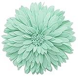 Fennco Styles 3D Sunflower Decorative Throw Pillow 13'' Round (Mint, Case+Insert)