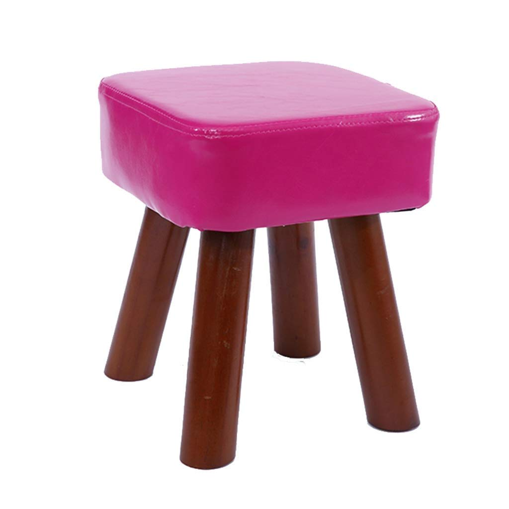 DHINGM Solid Wood Stool Home, Creative Simple Sofa Bench, Made of Wood and High-Grade PU Leather, Non-Slip Design at The Bottom, Easy to Clean, Stable and Durable (Color : Purple) by DHINGM