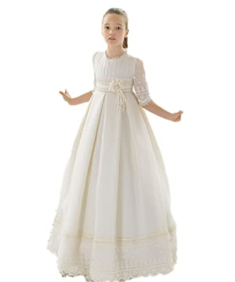 437ab96526dc Amazon.com: JCdress White Girls First Communion Dresses Lace Half Sleeve Flower  Girl Dress Party Daily: Clothing