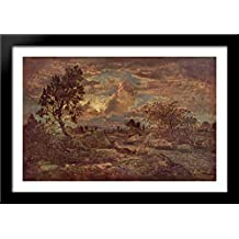 Sunset at Arbonne 40x28 Large Black Wood Framed Print Art by Theodore Rousseau