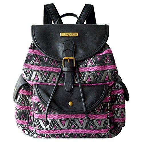 Women Girls Canvas Vintage Striped Rucksack School Bag College Backpack Daypack Violet Foncé