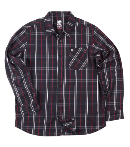 Metal Mulisha T-Bone Black Red White Striped Button Up Me...