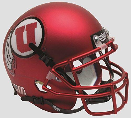 NCAA Utah Utes Mini Authentic XP Football Helmet, Satin Red Alt. 9, - Utah Utes Satin