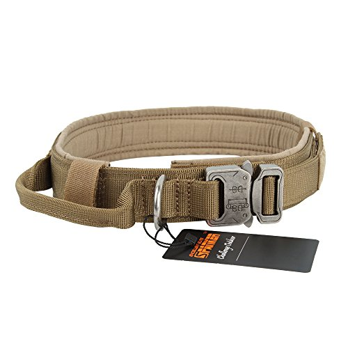 EXCELLENT ELITE SPANKER Tactical Dog Collar Military Training Nylon Adjustable Dog Collar with Control Handle(Brown-XL)