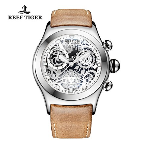 Tigers Sport Steel Watch (Reef Tiger Skeleton Sport Watches Mens Stainless Steel Luminous Watches with Date RGA792 (RGA792-YWS))