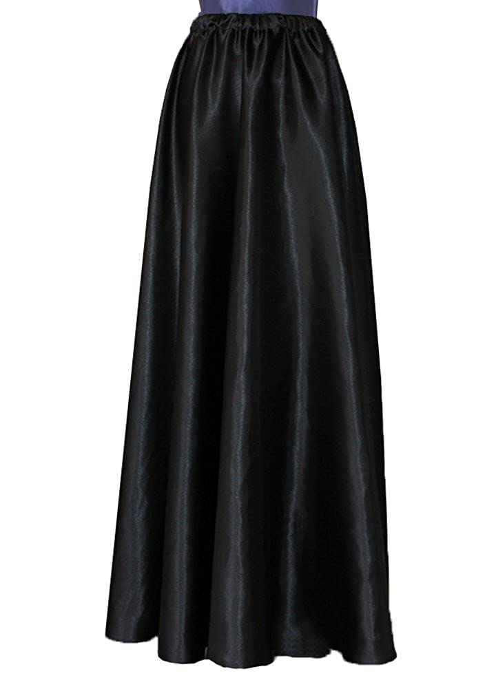 Women's Black Satin Maxi Length Formal Flowing Skirt (17 Colors Available) - DeluxeAdultCostumes.com