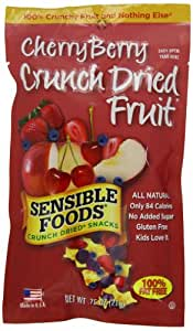 Sensible Foods Crunch Dried Snacks, Cherry Berry, 0.75-Ounce Pouches (Pack of 24)