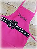 Toddler child polka dot ribbon embroider personalized apron with name