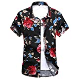WEEN CHARM Mens Floral Print Hawaiian Tropical Button Down Casual Short Sleeve Shirt