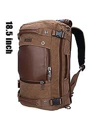 Doleesune Witzman Men's Vintage Duffel Bags for Men Canvas Shoulder Outdoor Travel Backpack A2021 (18.5 Inch Brown)