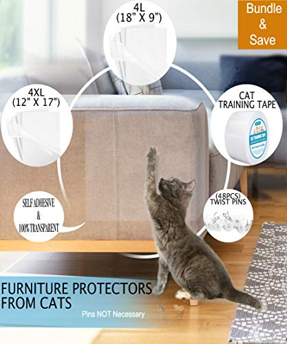 FurPals Anti Cat Scratch Deterrent Tape, Furniture Protectors from Cats, Clear Double Sided Training Tape, Couch Protector from Scratching, 4 XL (17 in by 12 in) & 4 Large (18 in by 9 in) Plus Extras