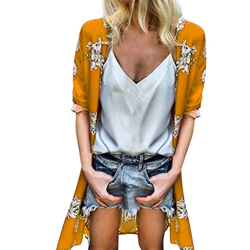 FEDULK Womens Loose Cardigan Tops Summer Floral Print Half Flare Sleeve Open Front Beach Cover Up s-5xl(Yellow, XXXX-Large) ()