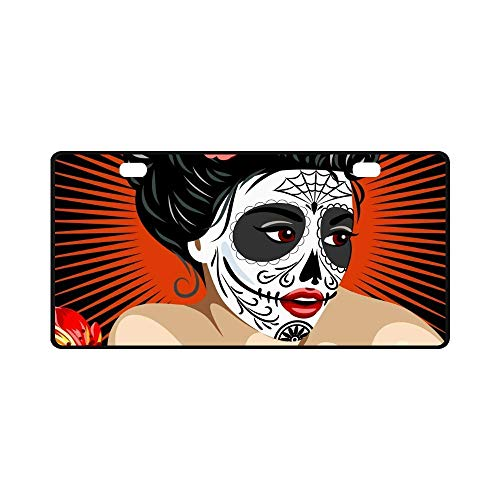 YUMHlicenseplateframeLL Car License Plate Holders, Halloween Mexican Girl's Death in Sugar Skull Make-Up Car Decor,Auto Metal Car Bumper Accessories Tag Cover]()