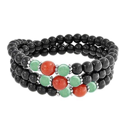 Beaded Stretch Silver Bracelet Plated (Beaded Multi Strand Stretch Bracelet Natural Gemstone Onyx Jade Carnelian Silver Plated Alloy 20 Inch)