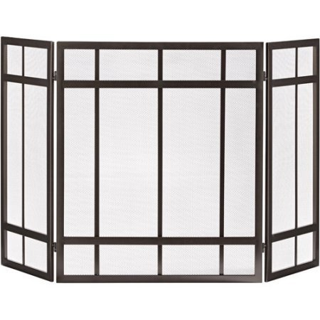 Screen 3 Mission Panel Fireplace (Uniflame S1734 Black 3 Panel Mission Screen)