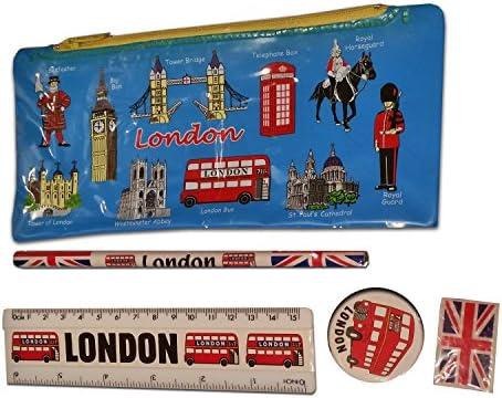 Kit Escuela de Londres - Azul / Bolígrafo / Estuche / Goma de Borrar / Sacapuntas / Regla / Autobús / Big Ben / Tower Bridge / Westminster Abbey / Recuerdo Británico de Inglaterra Reino Unido: Amazon.es: Oficina y papelería