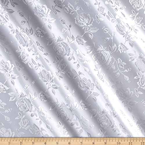 Ben Textiles Rose Satin Jaquard Fabric, White, Fabric by the yard