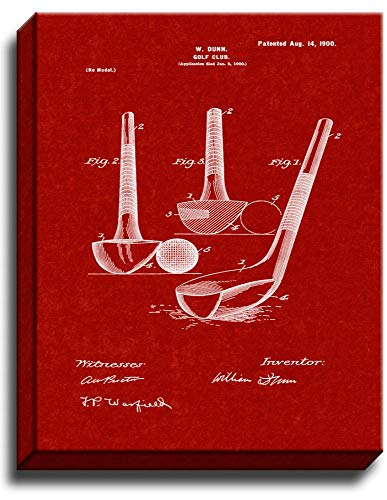 (Golf Club Patent Art Gallery Wrapped Canvas Print Burgundy Red (16