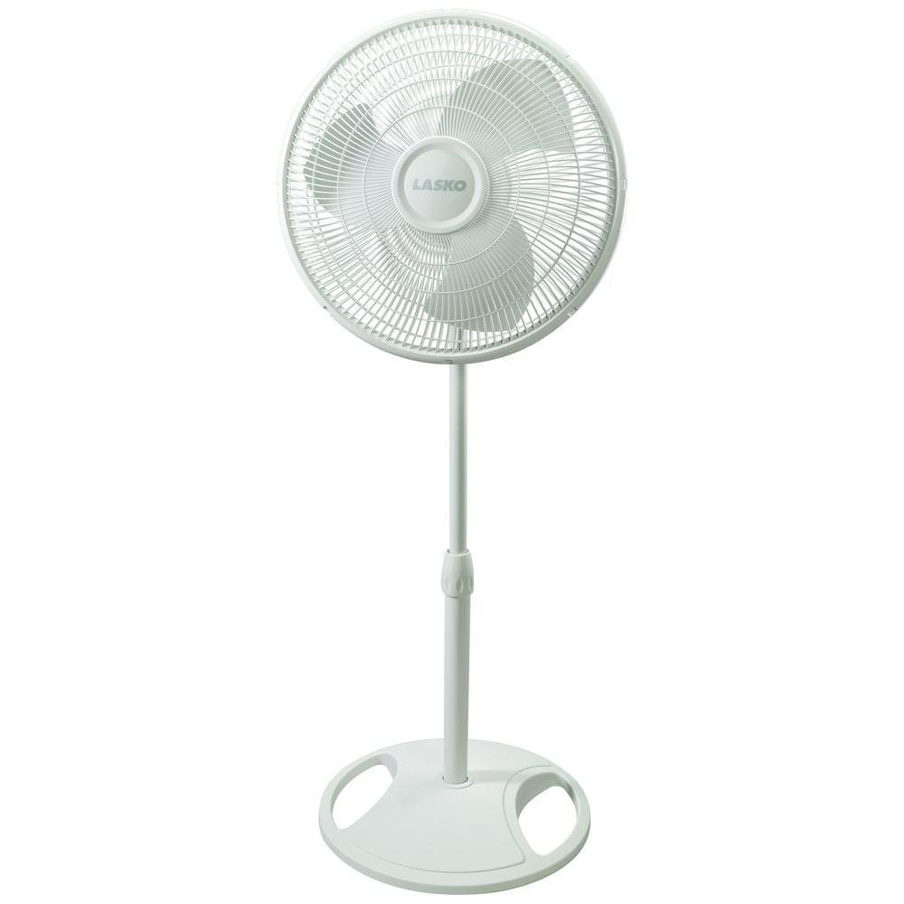 Lasko 16 Oscillating Pedestal Floor Fan with Multiple Speed Options, Fully Adjustable Height & Safety Fused Plug Included, White Finish by Lasko
