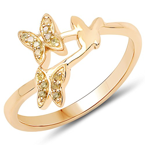 LoveHuang 0.07 Carats Genuine Yellow Diamond (I-J, I2-I3) Butterfly Trio Ring Solid .925 Sterling Silver With 18KT Yellow Gold Plating
