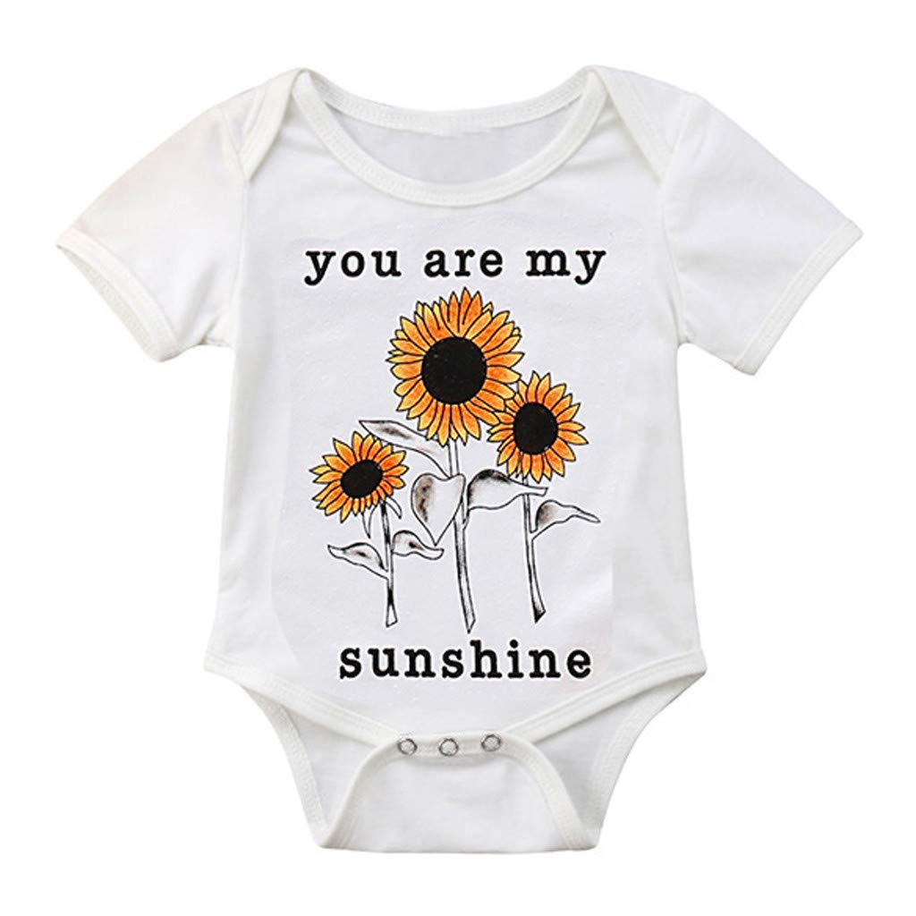 Fatchot Newborn Baby Girl Romper, Summer Baby Girls Short Sleeve Letter Printed Sunflower Jumpsuit Girls Playsuit Dungarees Bodysuit Outfits for 0-24 Months