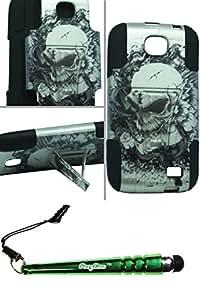 FoxyCase(TM) FREE stylus AND XL BLU Studio 5.3 II D550A Hybrid Case Stand Silver Skull