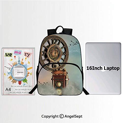 Preschool Children Bookbag,Magical Enchanted Landscape Big Antique Clock Flying Birds Fairytale 15.7