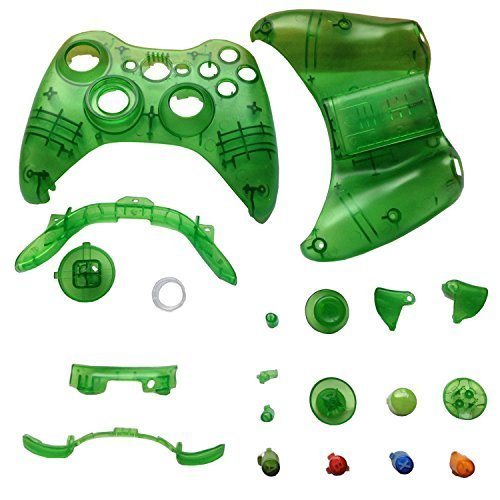 EGME Clear Green Replacment Shell and Buttons Kit for Xbox 360 Wireless Controller