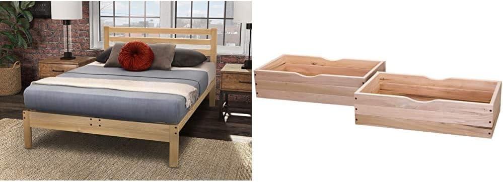 KD Frames Lexington Platform Bed, Queen, Unfinished & Rolling Under Bed Storage Drawer - Set of 2
