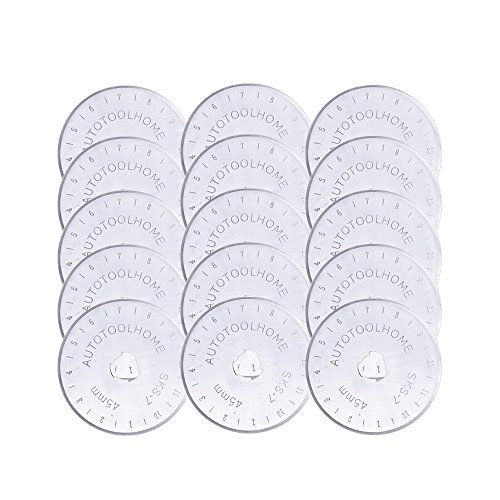 AUTOTOOLHOME Rotary Cutter Blades 45mm 15-Pack - Fits Fiskars, Olfa, Truecut, Martelli By Quilting Blade by AUTOTOOLHOME