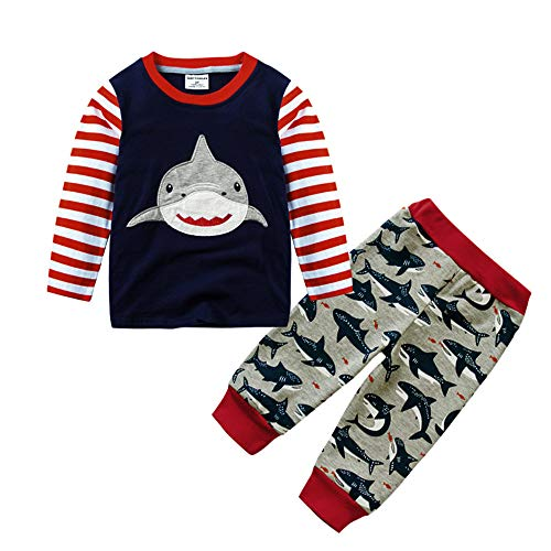 iYBUIA Cotton O-Neck Kids Infant Baby Boys Shark Print Cartoon Striped Tops+Pants Outfits Clothes(Red,3T) ()