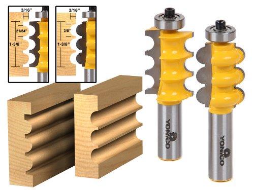 Triple Bead & Triple Flute 2 Bit Large Molding Router Bits Set - Yonico (Molding 2 Flute)