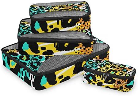 ヒョウのカラフルなアニマルプリント荷物パッキングキューブオーガナイザートイレタリーランドリーストレージバッグポーチパックキューブ4さまざまなサイズセットトラベルキッズレディース