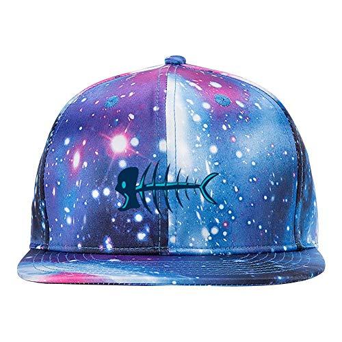 Skeleton Fish Purple Galaxy Snapback Hat Unisex Trucker Hat Hip Hop Plaid Flat Bill Brim Adjustable Baseball Cap