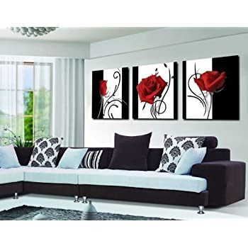 Abstract art in black white red decorative wall decorative canvas print set of 3 with