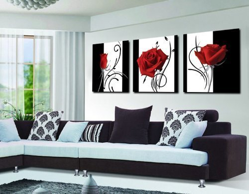Abstract Art In Black White Red Decorative Wall Decorative Canvas Print Set Of 3 (With ()