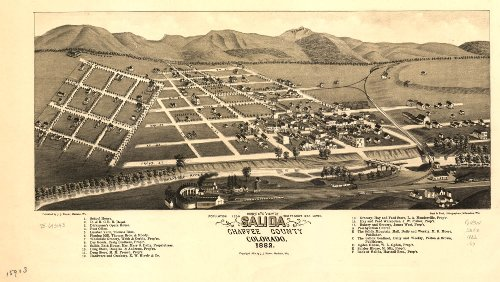 Map Poster - Bird's eye view of Salida Chaffee County Colorado. 1882