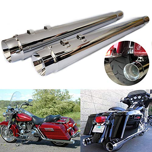 "TTX-LIGHTING 4"" Chrome Megaphone Slip On Mufflers Exhaust Pipes for Harley Davidson Touring Road King Electra Glide Street Glide Road Glide Ultra Classic FLHR FLHT FLTR FLHX 1995-2016"
