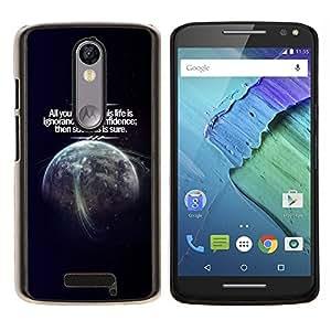 EJOOY---Cubierta de la caja de protección para la piel dura ** Motorola Moto X3 3rd Generation ** --Cosmos Confianza Éxito Vida Planeta Tierra