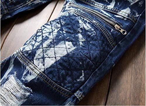 Cowboy Slim Ssig Blau Jeans Uomo Decorazione Fori Da Alla Locomotiva Straight Denim Reality Cotone Comodo Neve Catenaccio Di Fold In Cher Moda Battercake Fiocco A6q5x