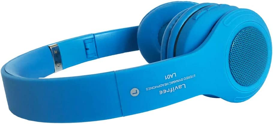 Kids Bluetooth Headphones,LED Light Up Wireless Wired Headset,85 dB Volume Limiting Foldable Headphones,Built-in Mic,Support FM Radio Micro SD TF,for iPhone Tablet iPad PC Kindle Laptop TV Blue