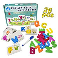 HUADADA Wooden ABC Alphabet Puzzles for Toddlers Kids Ages 1 2 3 4 5 Years Old - ABC Letters Flash Cards Learning Toy - Ideal for Early Educational Development Toys for Kindergarten Toddlers