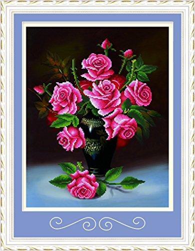 Genuine Diamond Rose - Starlit 71322 - Red Rose DIY Diamond Painting Rhinestone Embroidery Kit Size 50x61 cm (20x24 inch)