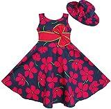 Sunny Fashion Vestido para niña 2 Pecs Sombrero para el Sol Bow Corbata Flor El Verano Playa niños Ropa 7-8 años